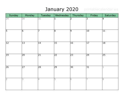 Printable Blank 2020 Calendar - Free Printable 2020 Calendar Maker