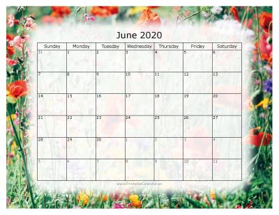 Printable 2020 Calendar - Colorful 2020 Calendars